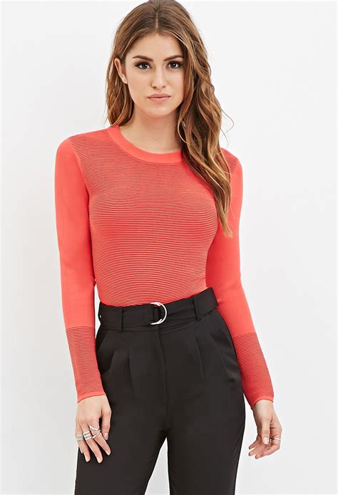 cropped sweater lyst forever 21 ribbed knit cropped sweater in pink