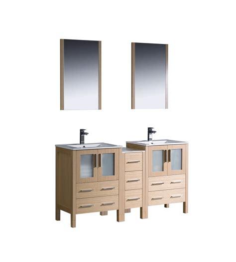 60 inch sink bathroom vanity in light oak with