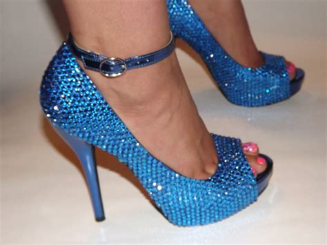 rhinestones high heels rhinestone bling high heel blue stilettos size 8