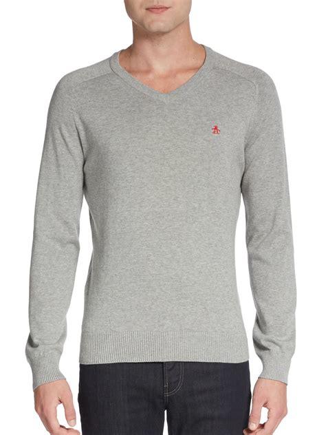 Sweater Original lyst original penguin v neck jersey sweater in gray for