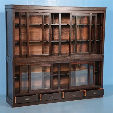 Antique Japanese Bookcase Or Cabinet With Sliding Glass Vintage Bookcase With Glass Doors