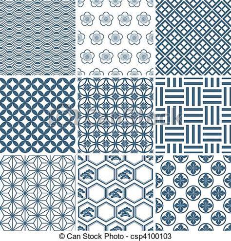 japanese pattern drawing vectors of japanese traditional pattern set illustration