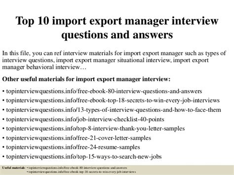 top 10 import export manager questions and answers