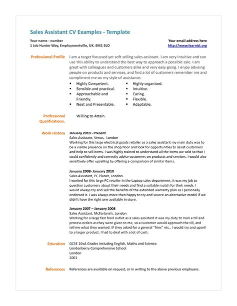 best ideas of personal statement exles cv sales sle