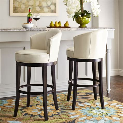 Ivory Counter Height Stools by Gregory Ivory Tufted Leather Back Bar Stool Set