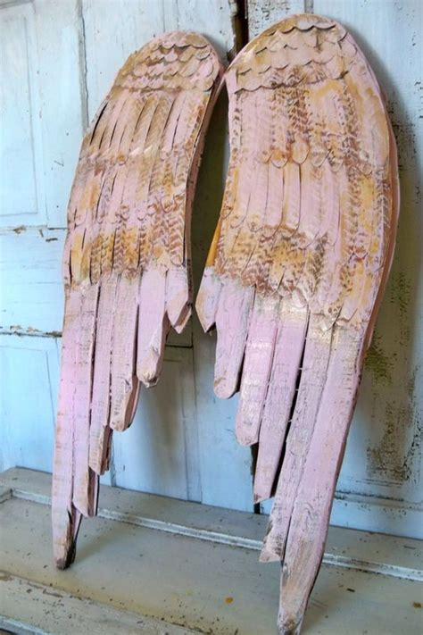 pink shabby chic wings wood wall sculpture distressed hand