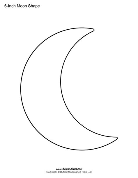 shape template blank moon templates printable moon shapes