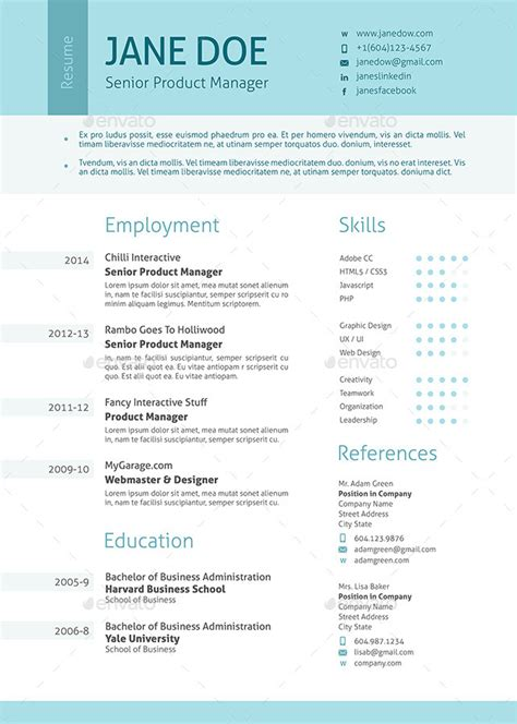 Clean Resume by Stylish Clean Resume By Ofrika Graphicriver