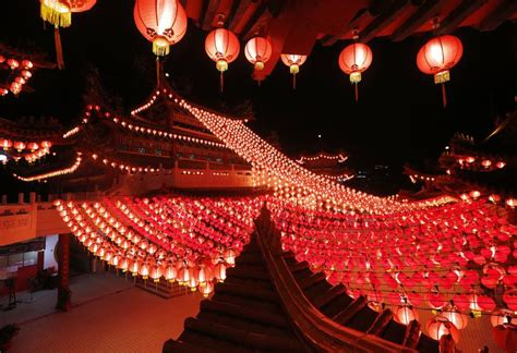 coldest new year in malaysia lanterns decorate temple to celebrate new year in