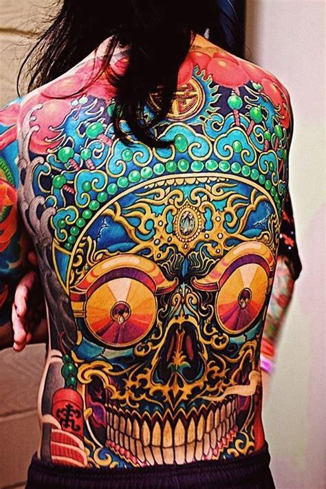 new school tattoo quebec ethnic scull new school tattoo idea on back back tattoos