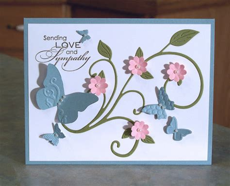 Handmade Butterfly Cards - handmade card with embossed butterflies stin up sending