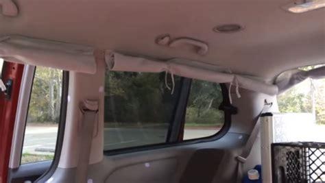 minivan curtains couple convert their minivan into a diy micro motorhome