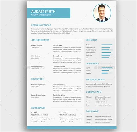 template de cv 22 templates de cv sur photoshop