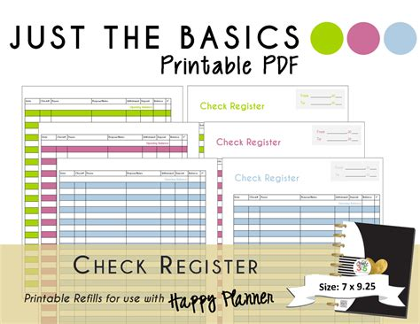 printable happy planner inserts happy planner printable check register planner inserts pdf