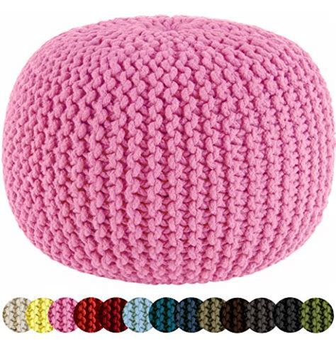cable knit pouf ottoman cotton craft hand knitted cable style dori pouf pink