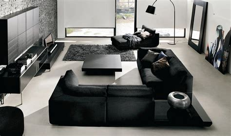 Black Living Room by Black And White Living Room Interior Design Ideas