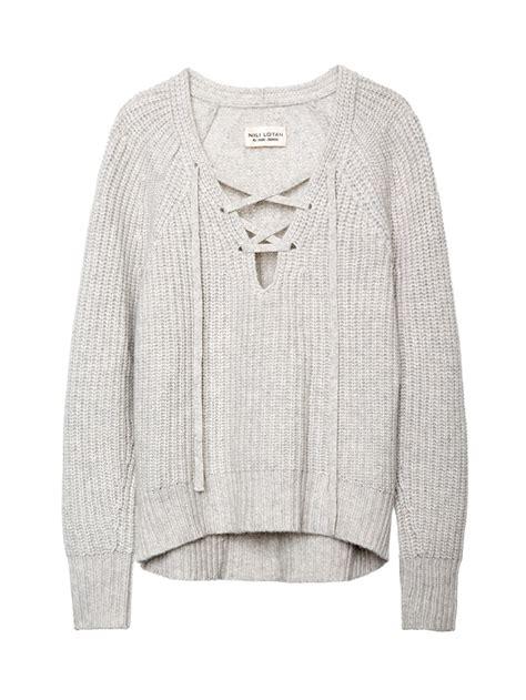 Lace Up V Neck Ruffle Navy Sweater Rajut Wanita Sweater Wanita nili lotan lace up v neck sweater sweaters