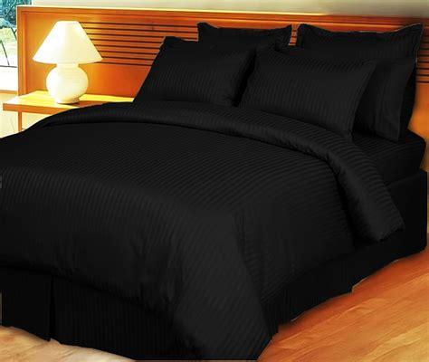 1000tc 4pc Sheet Set Solid 1000tc Cotton Sheet Set 4pc Black Stripe Free