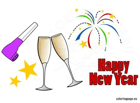 printable new year clipart new year coloring page