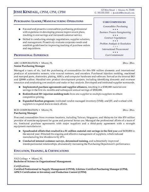 Resume Sle For Procurement Professional Exle Purchasing Manager Resume Free Sle