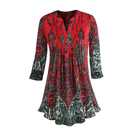 Mercoledi Brown Floral Pattern Tank Tops L tunic top pleated paisley 3 4 sleeve printed blouse ebay