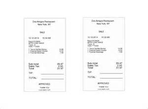 Restaurant Receipt Template Free by Restaurant Receipt Template 5 Free Word Excel Pdf