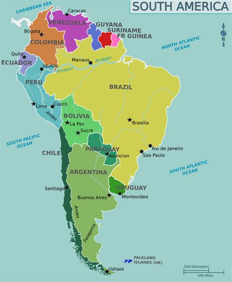 show map of south america south america political map size