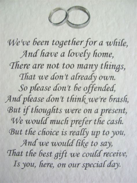 Wedding Gift Money Amount Uk by 20 Wedding Poems Asking For Money Gifts Not Presents Ref