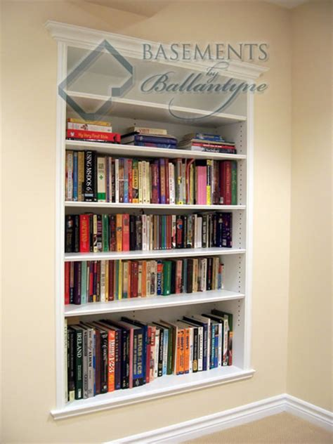 recessed bookshelves in between the wall studs talk about