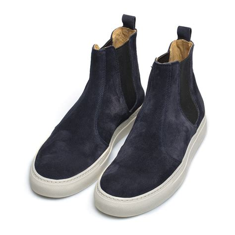 buttero navy suede chelsea boots in black for lyst