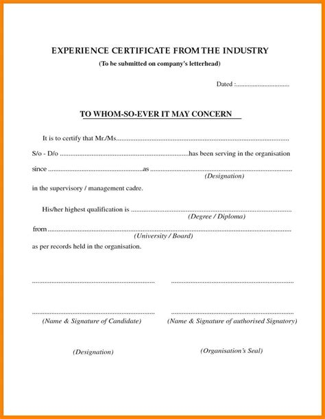 Letter For Work Experience Certificate 4 Work Experience Letter Pdf Packaging Clerks