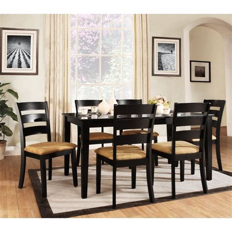 homelegance tibalt 6 piece rectangle black dining table set 60 in with ladder back chairs 25 best images about black dining table set on pinterest
