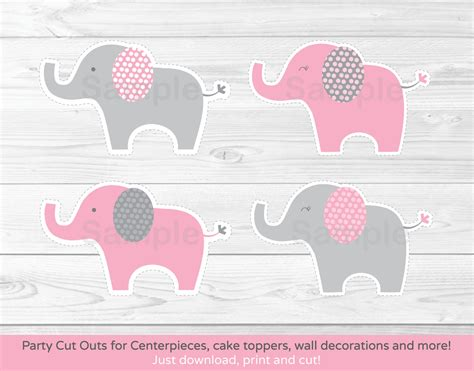 print out decorations pink elephant cut outs elephant centerpiece wall decor