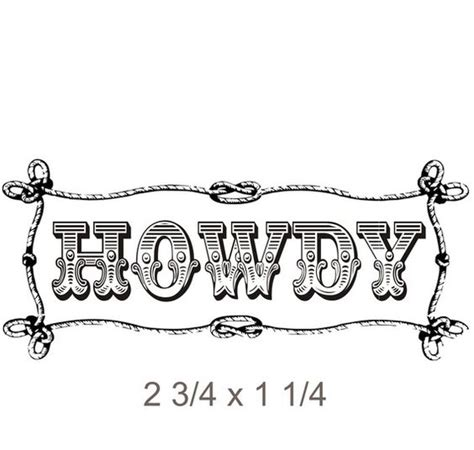 rubber st font with border west themed howdy rubber st with rope border