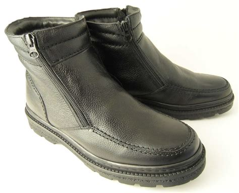 mens fleece lined boots mens roamers leather warm fleece fur lined zip