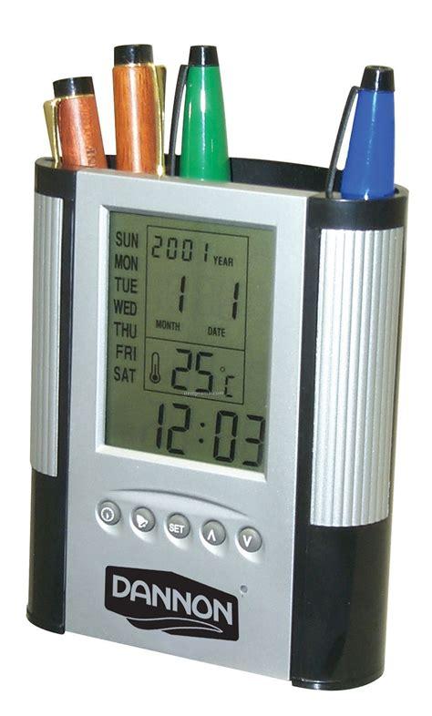 Color Change Desk Clock Temperatur Display With Pen Holder Jk 1898 Bla pen pencil holders china wholesale pen pencil holders