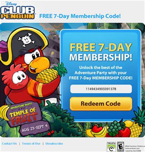 free club penguin membership club penguin sending free membership codes in email