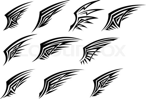 set of black tribal wing tattoos stock vector colourbox