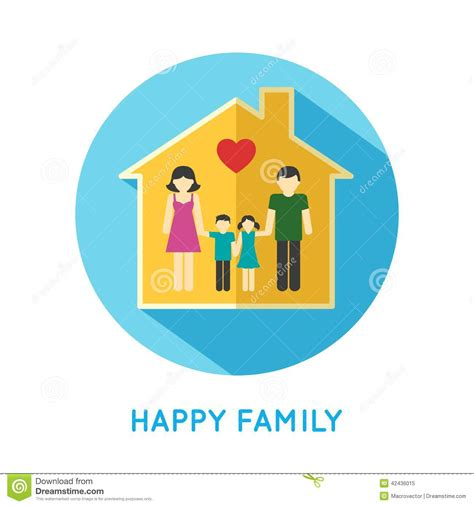 Green House Plans by Family Icon Home Stock Vector Image 42436015