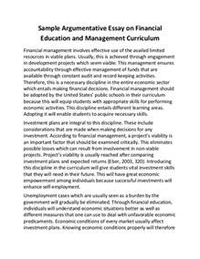Argumentative Essay Exles For College by Sle Argumentative Essay On Financial Education And Management Curr