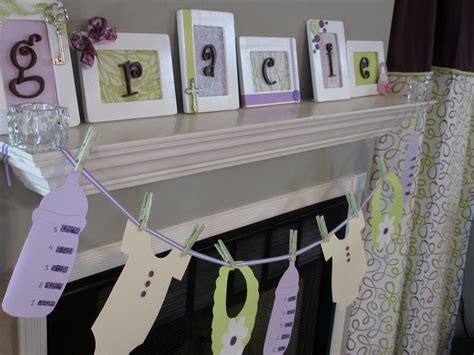 Baby Shower Decorations Purple And Green by Purple And Green Baby Shower Decorations Mantel Decor Can