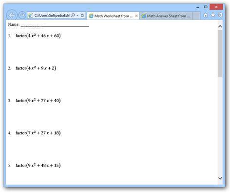 Worksheet Generator by Math Generator Worksheet Math Worksheets Dynamically