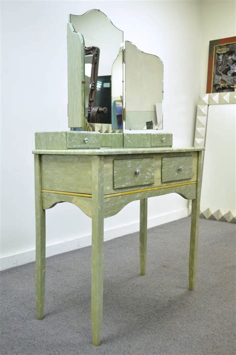vanity with tri fold mirror and bench rare art deco green celluloid covered vanity with tri fold