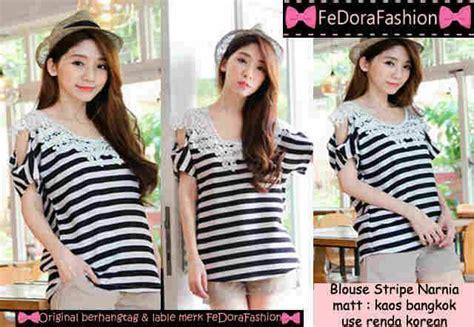 Baju Atasan Baju Wanita Blouse Zeta Stripe baju atasan blouse renda stripe wanita modis terbaru murah