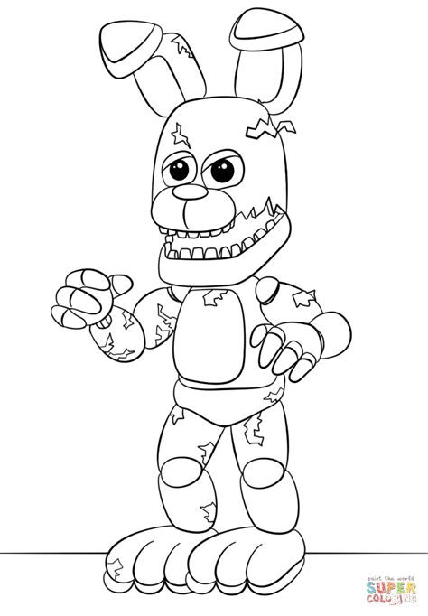 Fnaf 1 Coloring Pages by Fnaf Springtrap Coloring Page Free Printable Coloring Pages