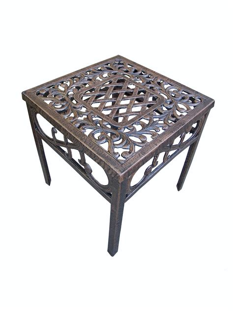 10 inch end tables with ceramic top oakland living mississippi cast aluminum end table 18