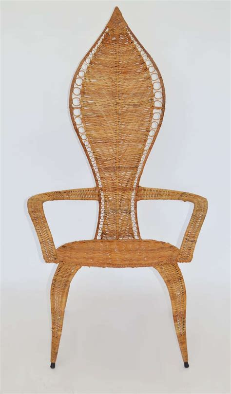 pair of armchairs pair of woven rattan armchairs by miller fong at 1stdibs
