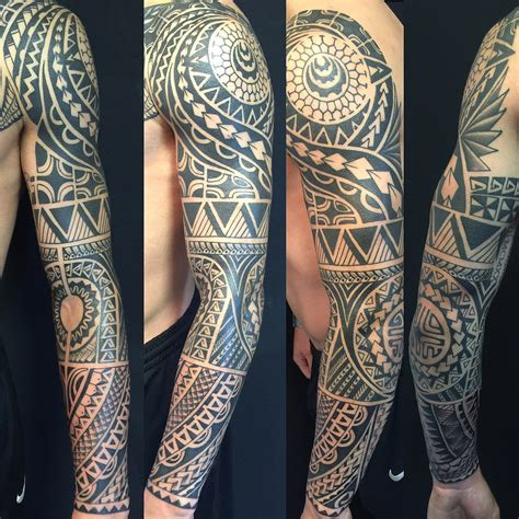 oksana weber black and grey polynesian tattoo sleeve
