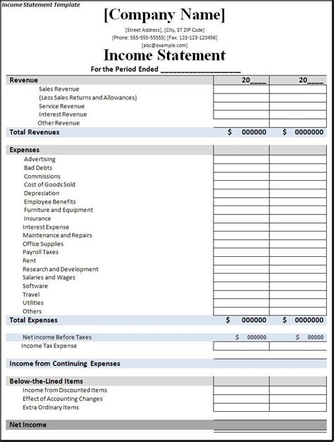 5 Income Statement Templates Excel Pdf Formats Sle Income Statement Template