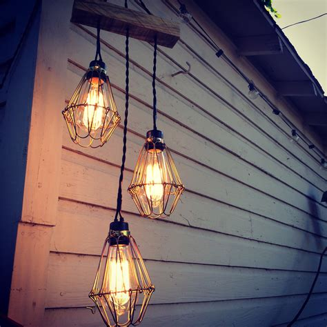 Edison Bulb Chandelier Three Bulb Edison Chandelier Outdoor Custom